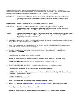 BOARD MEETING MINUTES OF THE BOARD OF TRUSTEES OF LARAMIE COUNTY COMMUNITY COLLEGE DISTRICT STATE OF WYOMING HELD WEDNESDAY OCTOBER   PETERSEN BOARD ROOM ADMINISTRATION BUILDING LARAMIE COUNTY COMMUNI