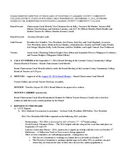 BOARD MEETING MINUTES OF THE BOARD OF TRUSTEES OF LARAMIE COUNTY COMMUNITY COLLEGE DISTRICT STATE OF WYOMING HELD WEDNESDAY SEPTEMBER   PETERSEN BOARD ROOM ADMINISTRATION BUILDING LARAMIE COUNTY COMMU