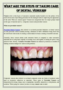 What are the steps of taking care of Dental Veneers?