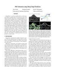 PSF Estimation using Sharp Edge Prediction Neel Joshi