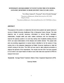 DETERMINANTS AND MANAGEMENT OF PATIENT WAITING TIME IN THE GENERAL O