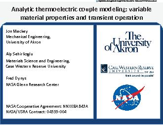 Analytic thermoelectric couple modeling variable material properties