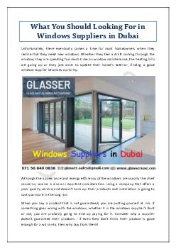What You Should Looking For in Windows Suppliers in Dubai