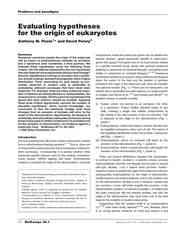 Evaluating hypotheses for the origin of eukaryotes Ant
