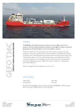 The FKAB T36C is 6700 DWT stainless steel tanker for chemical IMO II