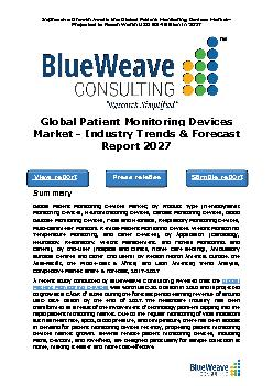 The Global Patient Monitoring Devices Market - Industry Trends & Forecast Report 2027