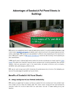 Advantages of Sandwich Puf Panel Sheets in Buildings - Bansal Roofing