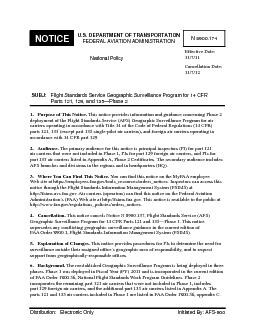 US DEPARTMENT OF TRANSPORTATION FEDERAL AVIATION ADMINISTRATION