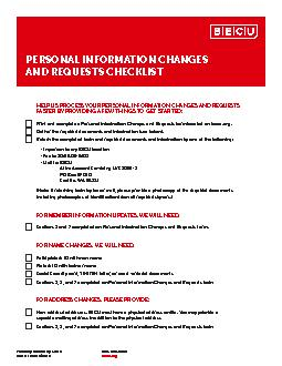 PERSONAL INFORMATION CHANGES