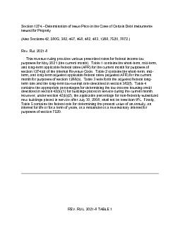 Section 1274Determination of Issue Price in the Case of Certain Debt