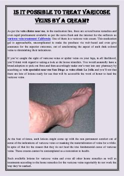 Is It Possible to Treat Varicose Veins by a Cream?