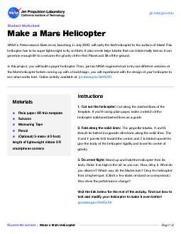 Student WorksheetNASAs Perseverance Mars rover launching in July 202