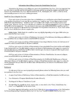 Information About Filing a Case in the United States Tax CourtAttached