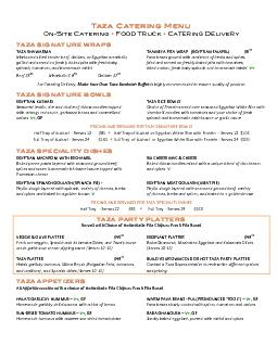 Taza Catering Menu 0nSite Catering  Food Truck  Catering Delivery