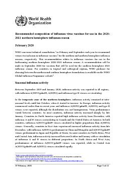 Recommended composition of influenza virus vaccines for use in the 20