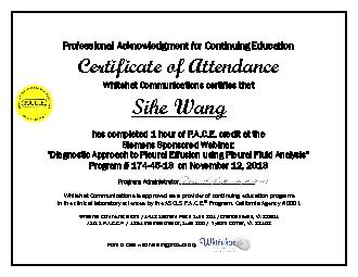 Professional Acknowledgment for Continuing Education