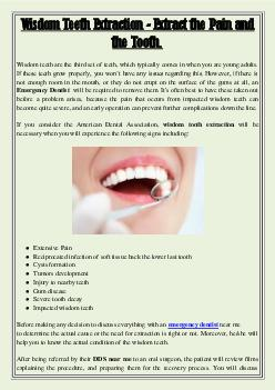 Wisdom Teeth Extraction - Extract the Pain and the Tooth.