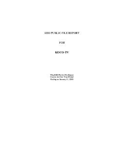EEO PUBLIC FILE REPORTFORKOCOThis EEO Public File ReportCovers the One