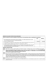 Pension exclusion computation work sheet
