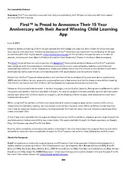 First™ is Proud to Announce Their 15 Year Anniversary with their Award Winning Child Learning App