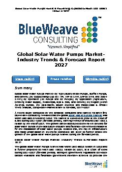 Global Solar Water Pumps Market- Industry Trends & Forecast Report 2027