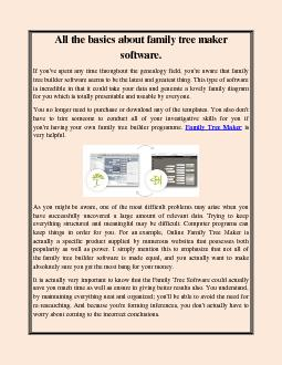 All the basics about family tree maker software.