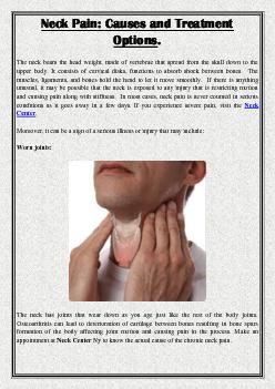 Neck Pain: Causes and Treatment Options.