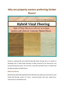 Why are property owners preferring timber floors?