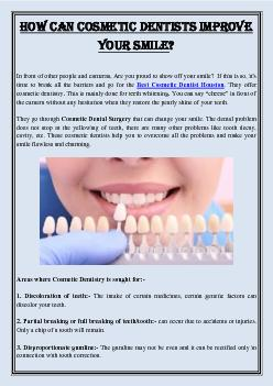 How Can Cosmetic Dentists Improve Your Smile?