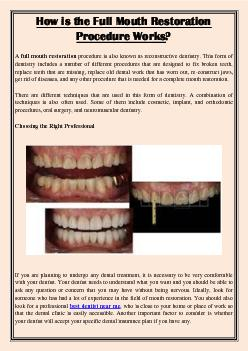 How is the Full Mouth Restoration Procedure Works?