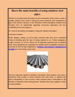 Know the main benefits of using stainless steel pipes.