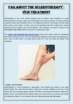 FAQ ABOUT THE SCLEROTHERAPY - VEIN TREATMENT