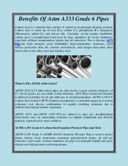 Benefits Of Astm A333 Grade 6 Pipes