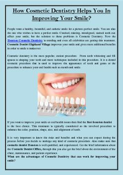 How Cosmetic Dentistry Helps You In Improving Your Smile?