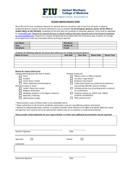 EXCUSED ABSENCE REQUEST FORM Please fill out this form