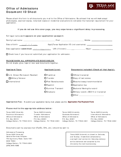 Office of AdmissionsDocument ID Sheet