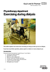 Physiotherapy department Exercising during dialysis Th