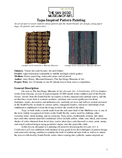 TapaInspired Pattern Painting An art project to teach students about