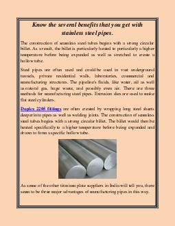 Know the several benefits that you get with stainless steel pipes.