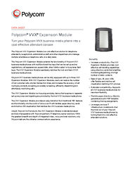 DATA SHEET Polycom VVX Expansion Module Turn your Poly