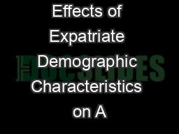 Effects of Expatriate Demographic Characteristics on A