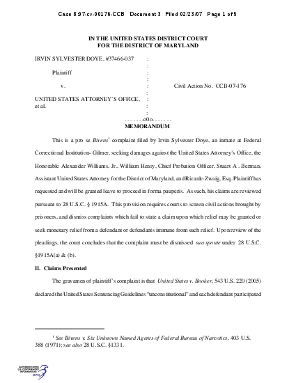 Case 807cv00176CCB   Document 3   Filed 022307   Page 2 of 5