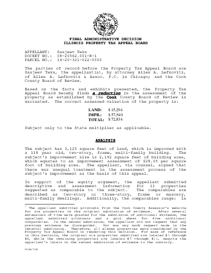 FINAL ADMINISTRATIVE DECISIONILLINOIS PROPERTY TAX APPEAL BOARD