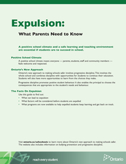 Expulsion A positive school climate and a safe learnin