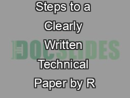 Fourteen Steps to a Clearly Written Technical Paper by R PowerPoint PPT Presentation