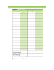 Food  Beverage Calories Activity Calories Expended Cal