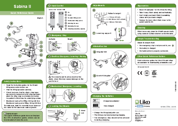 IMPORTANTThis quick reference guide does not replace the lifts instruc