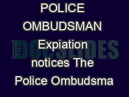 POLICE OMBUDSMAN Expiation notices The Police Ombudsma