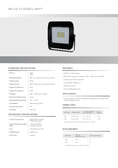 Please indicate LED color temperature when ordering
