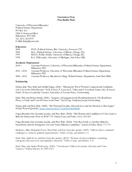Political Science Department Milwaukee WI 2011  2014 Assistant Profess